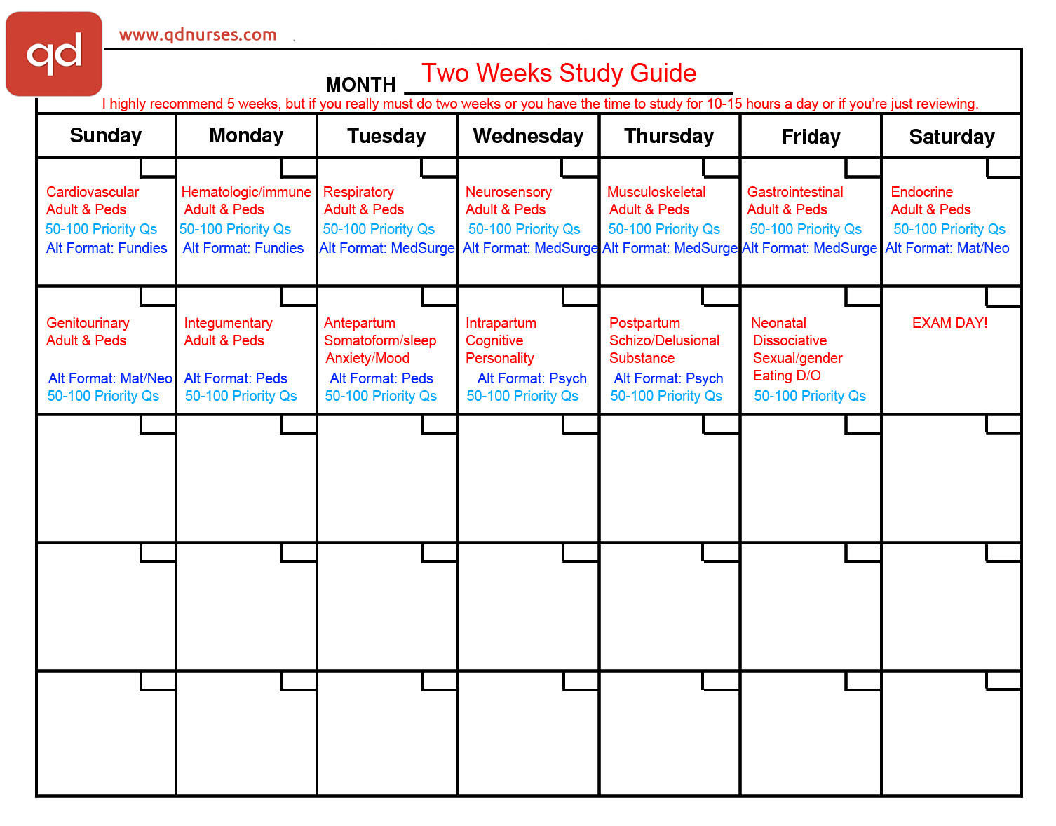 two weeks plan